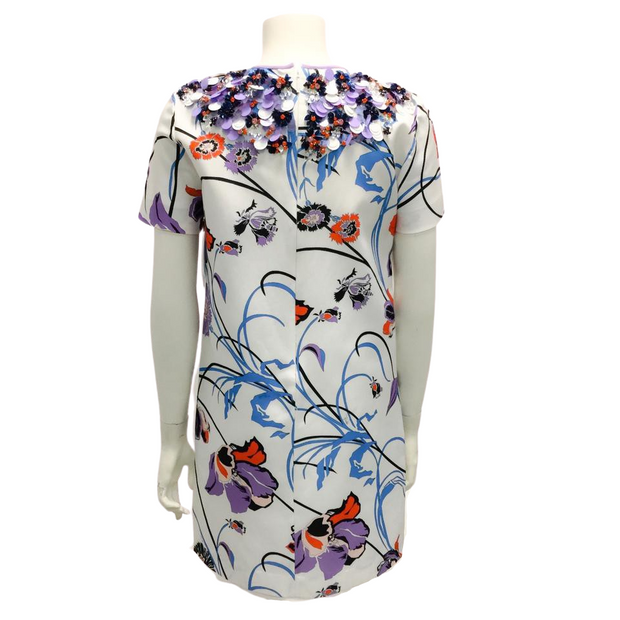 Emilio Pucci White and Purple Embellished Collar Cocktail Dress