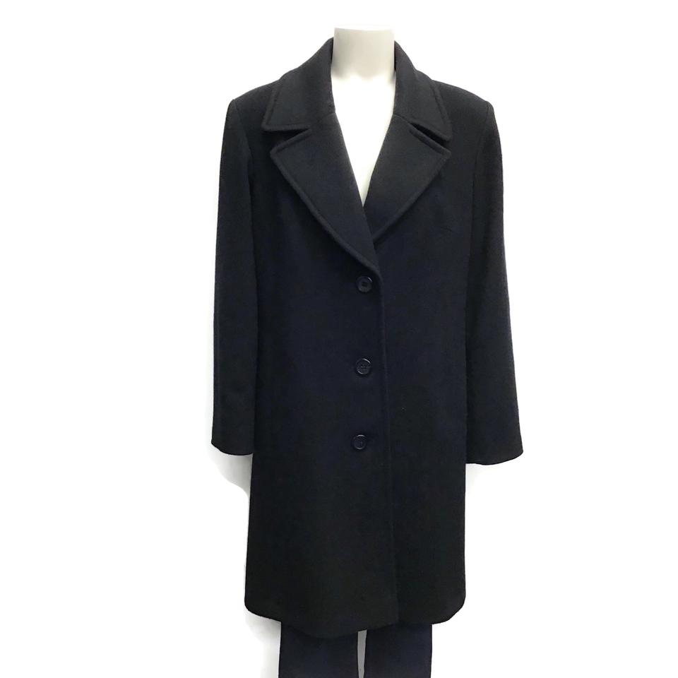 Fleurette Black Notch Collar Wool Coat