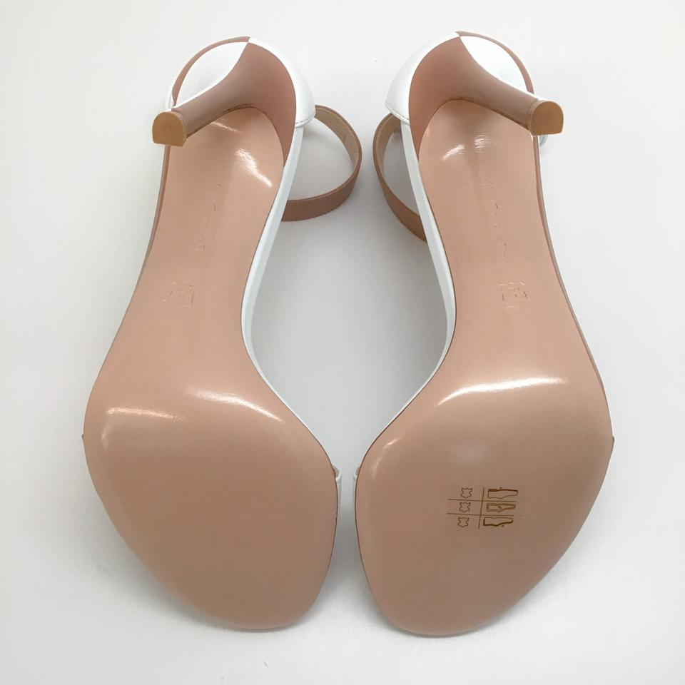 Gianvito Rossi Nude/White Leather Dama Sandals
