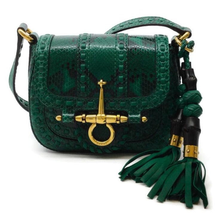 Gucci Snaffle Bit Emerald Python Shoulder Bag