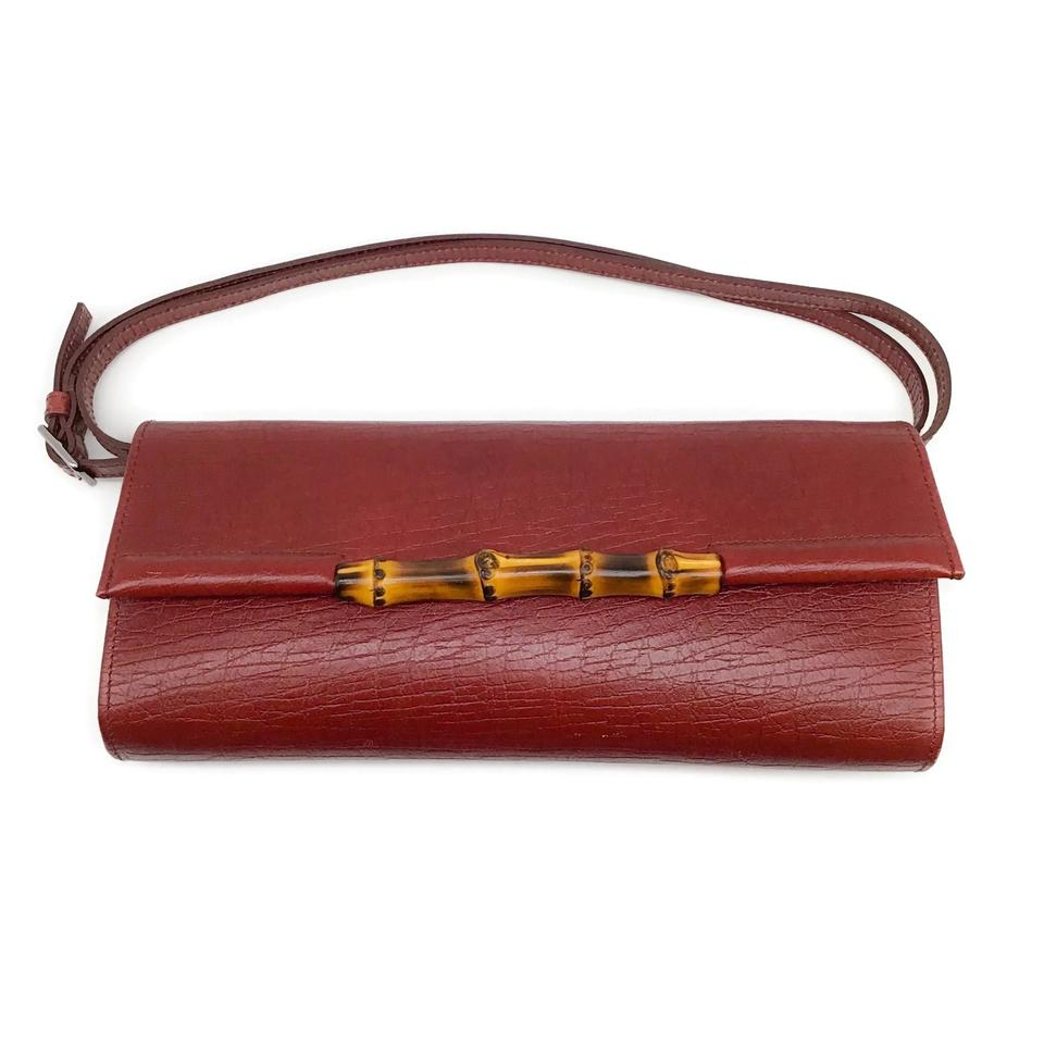 Gucci Textured Leather Burgundy Baguette