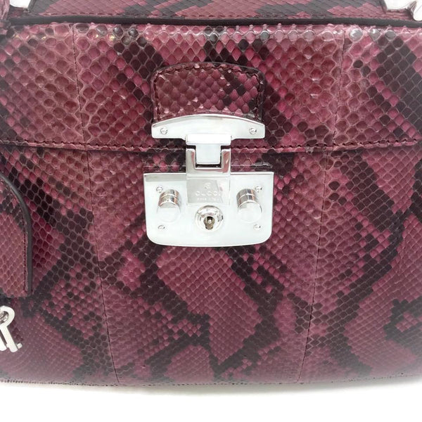 Gucci With Bamboo Handle Purple Python Satchel