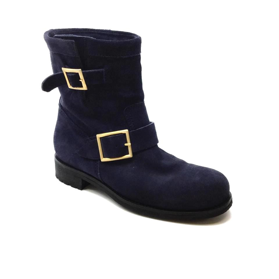 Jimmy Choo Navy Suede Buckle Boots