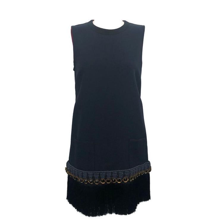 Marni Navy Shift with Fringe Dress