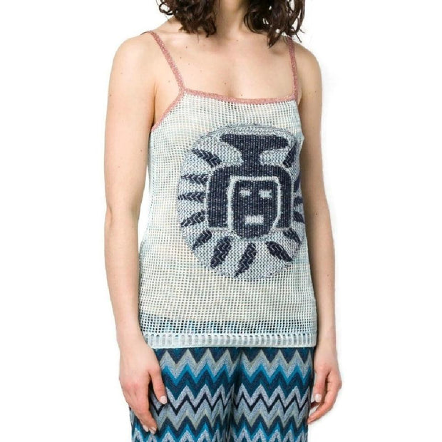 Missoni Blue and Rose Gold Waffle Tank Top
