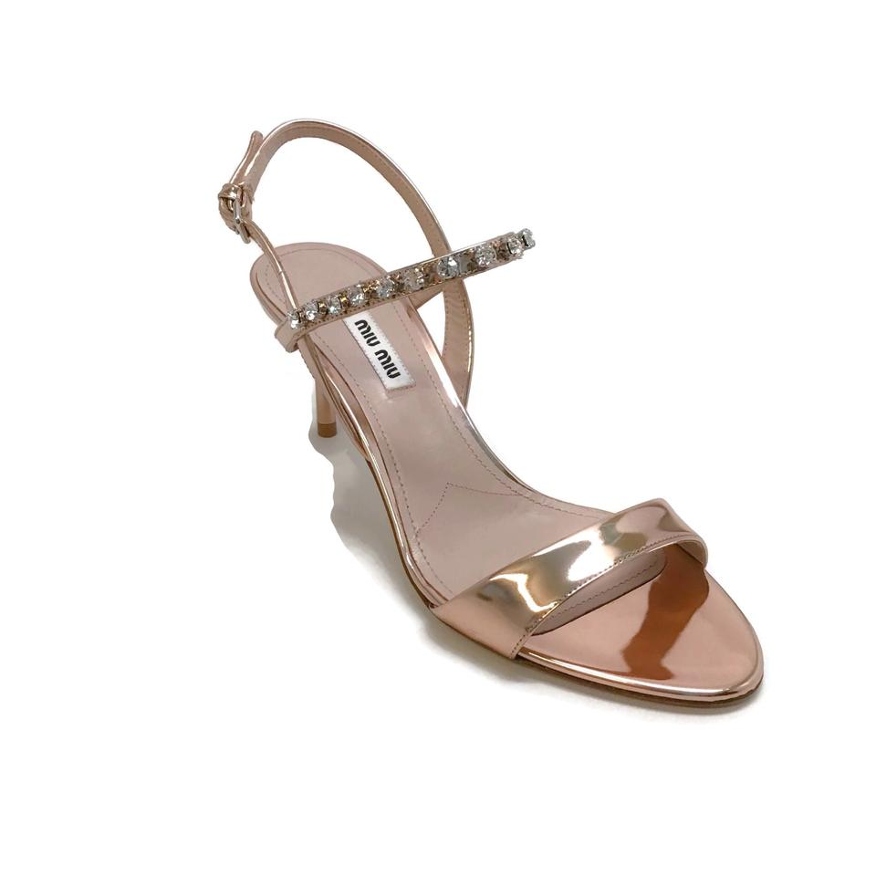 Miu Miu Rose Gold Rhinestone Sandals