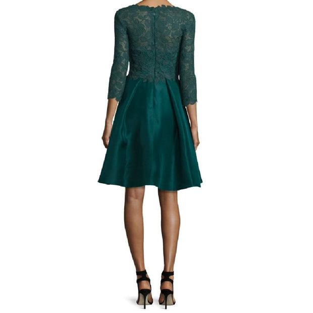 Monique Lhuillier Forest Green 3/4 Sleeve Lace Dress