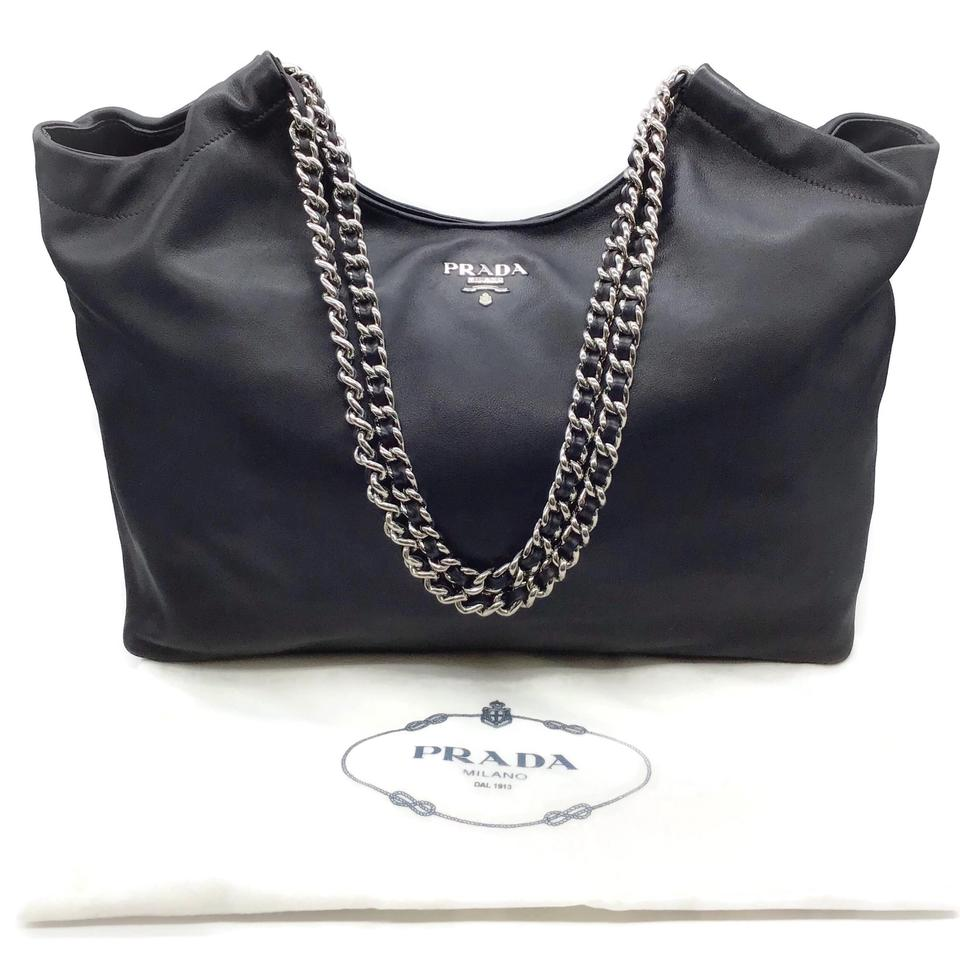 Prada Smooth Black Leather Tote