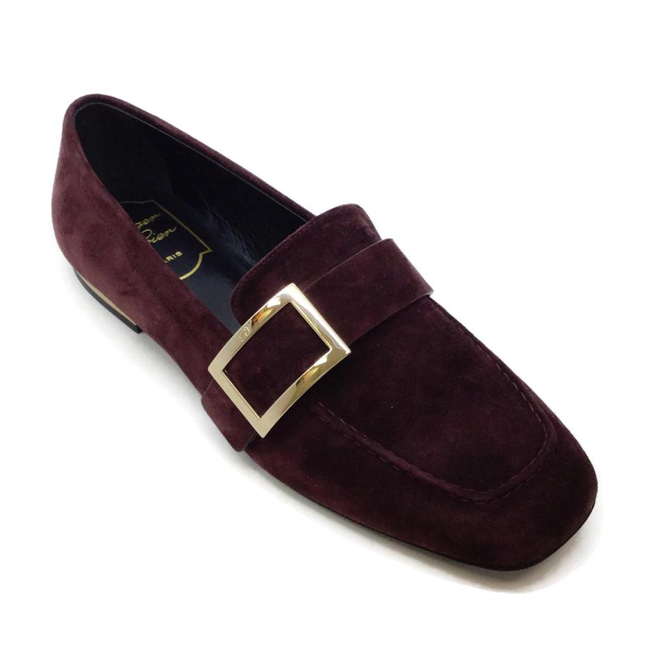 Roger Vivier Oxblood Metal Buckle Loafers