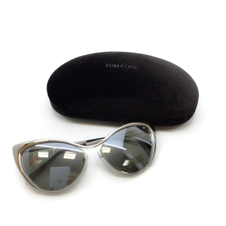 Tom Ford Silver Metal Cat Eye Sunglasses