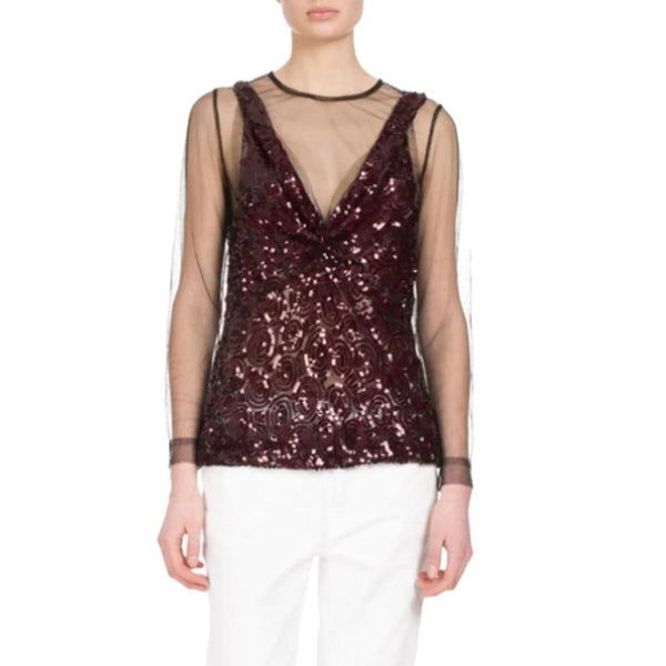 Dries van Noten Carti Sequin Mesh Black / Burgundy Top