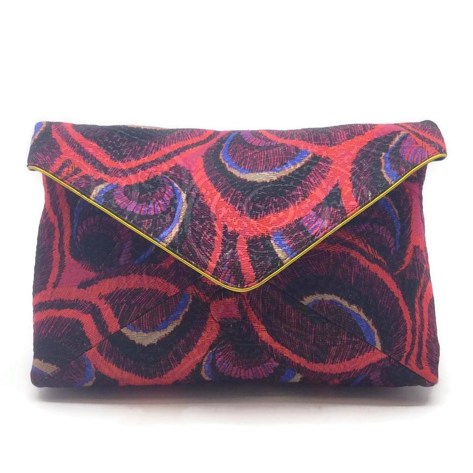 Dries van Noten Envelope Cherry / Purple Fabric / Suede Clutch
