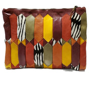 Duro Olowu Patchwork Multi/Zebra Print Leather Clutch