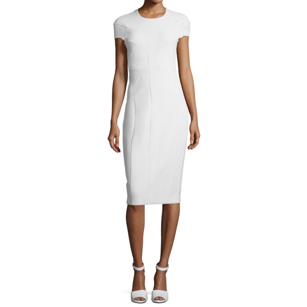 Narciso Rodriguez Pale Blue Cap Sleeve Scuba Dress