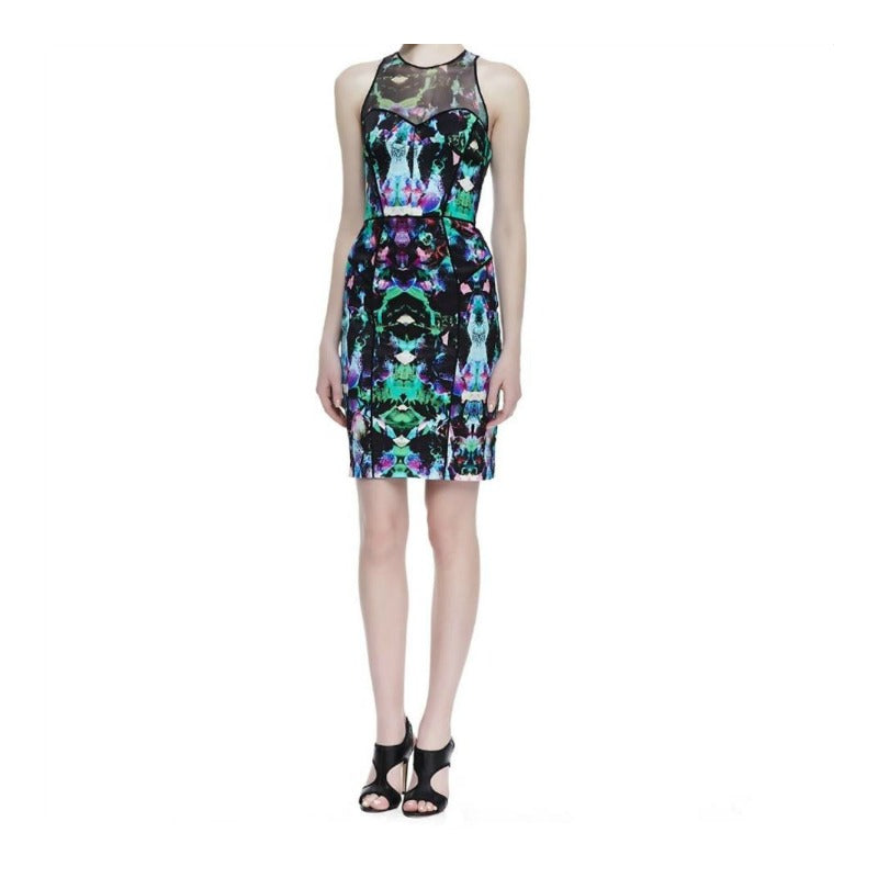 MILLY Multi-color Mesh Top Orchid Print Night Out Dress