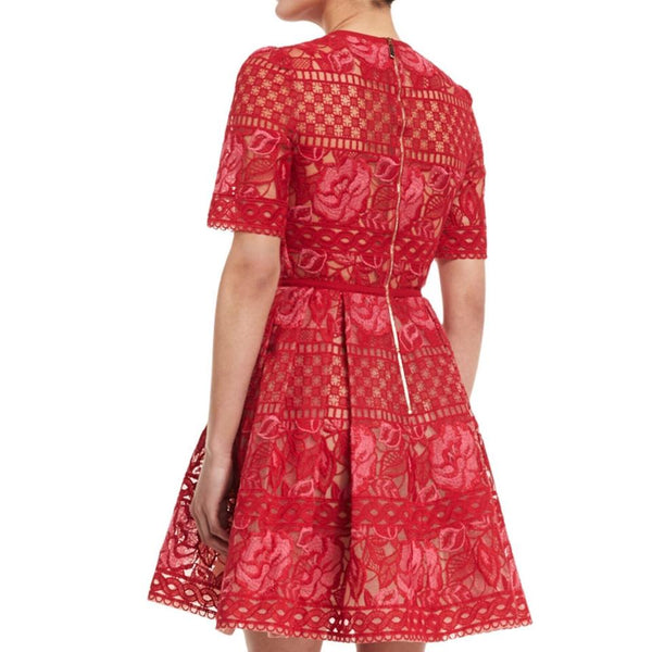 Elie Saab Imperial Red / Pink Half Sleeve Embroidered Dress