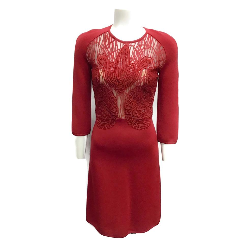 Elie Saab Red 3/4 Sleeve Lace Knit Dress