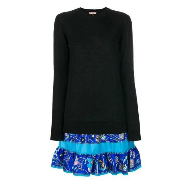 Emilio Pucci Black and Blue Multi Floral Detail Jumper Casual Dress