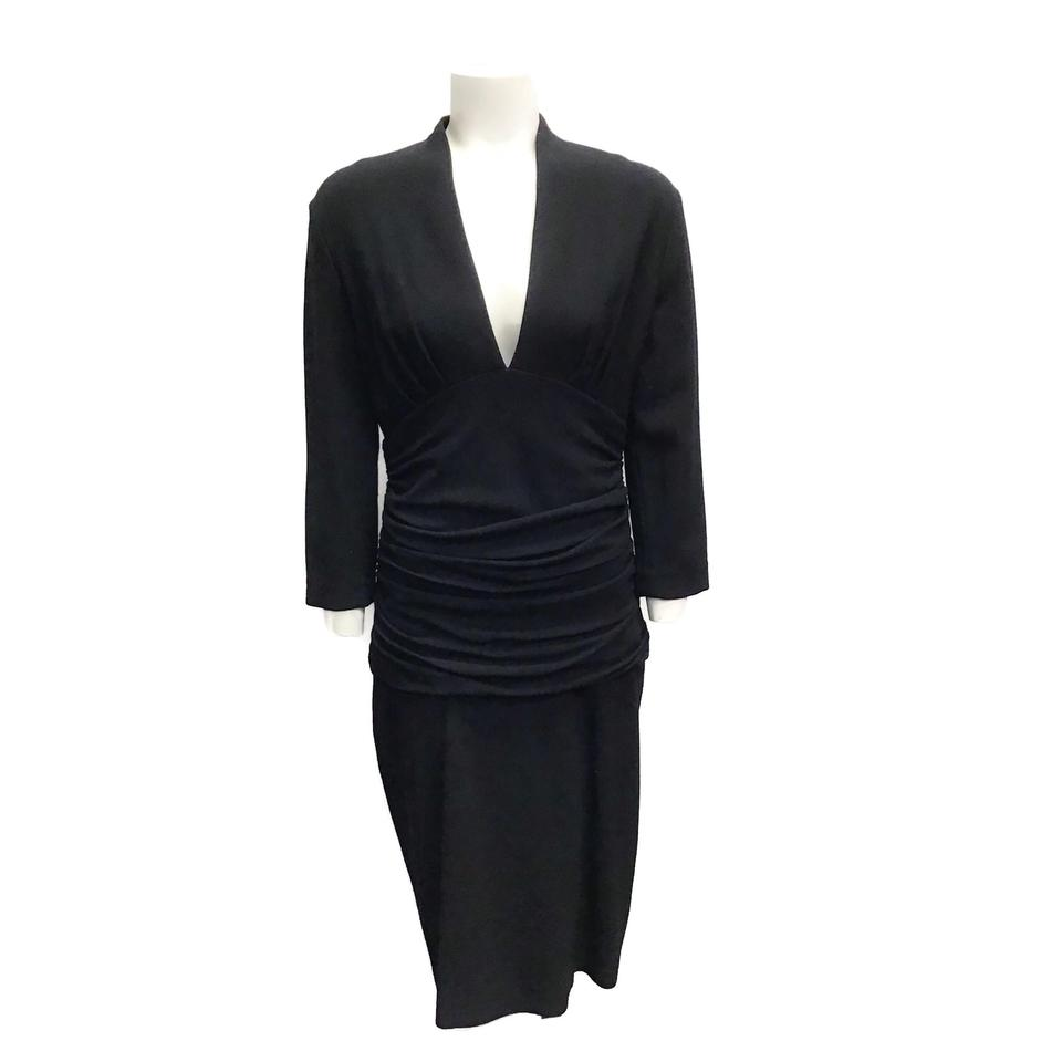 Etro Black Ruched Wool Dress