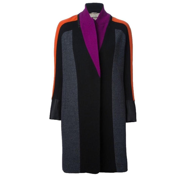 Etro Black/Fuchsia/Orange Color Block Coat