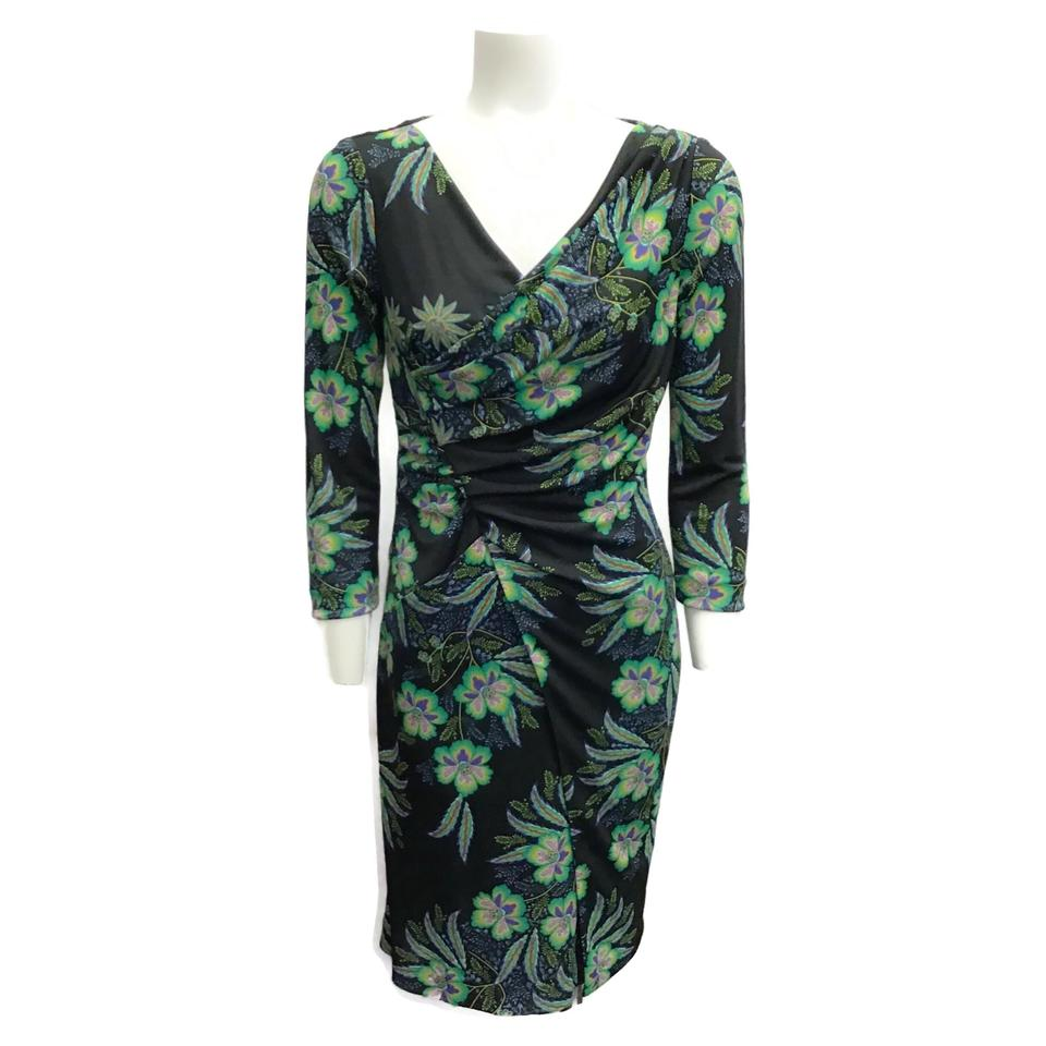 Etro Black/Green 3/4 Sleeve Floral Dress