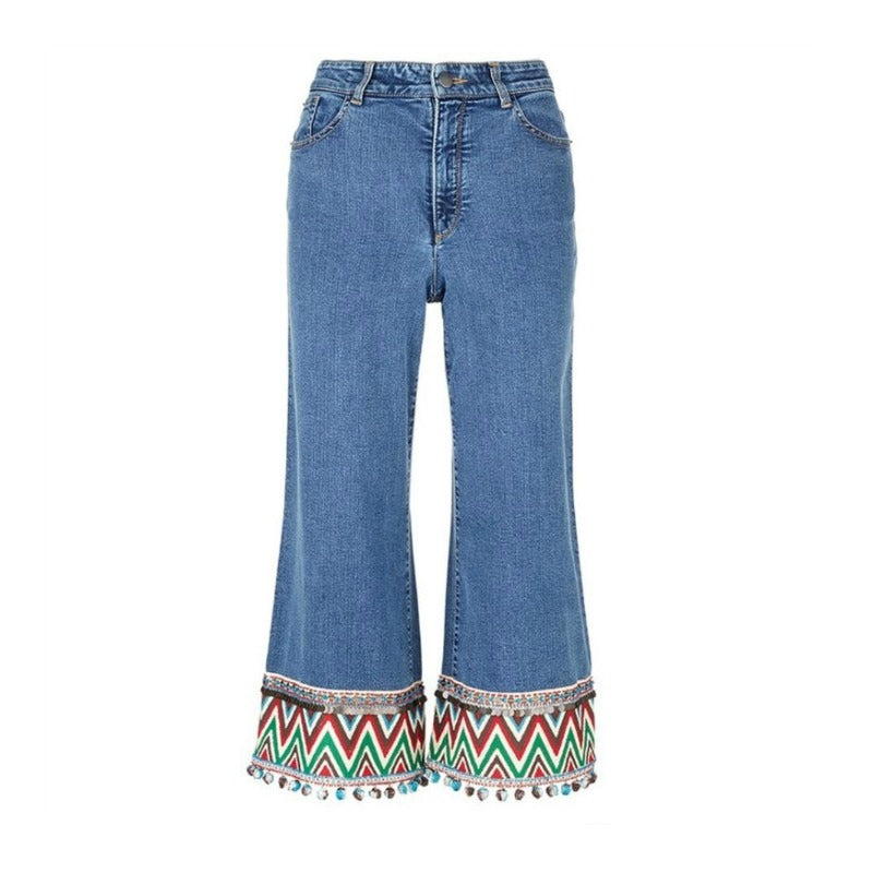 Alice + Olivia Blue Multi-Color Medium Wash Beta Capri/Cropped Jeans