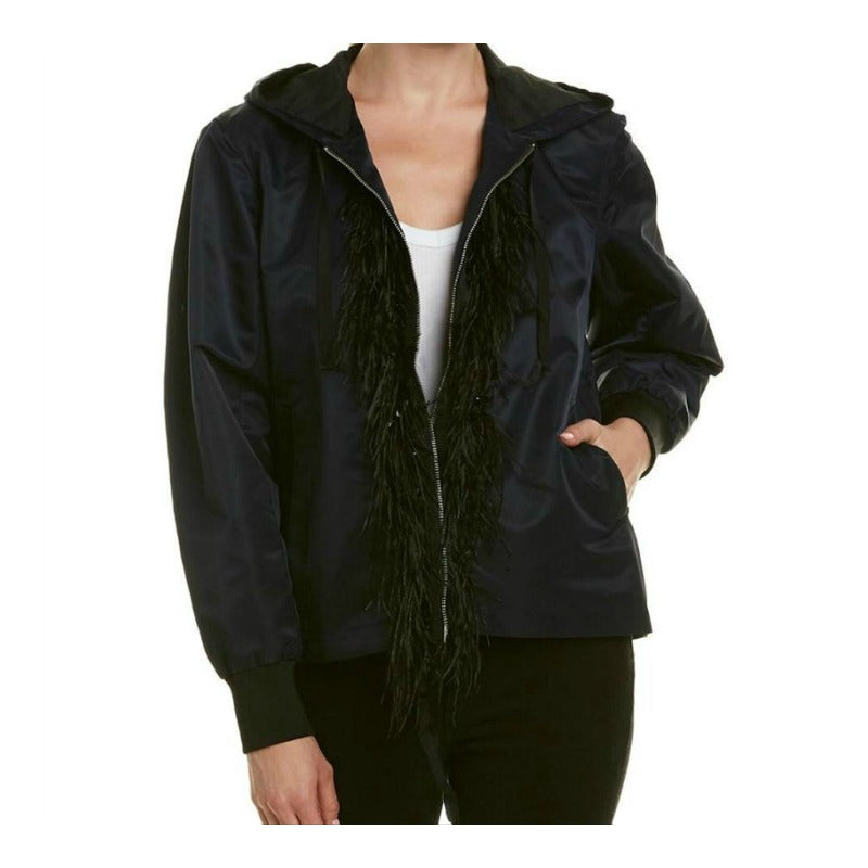 Cinq à Sept Collette Navy/Black Nylon Sequin/Marabou Jacket