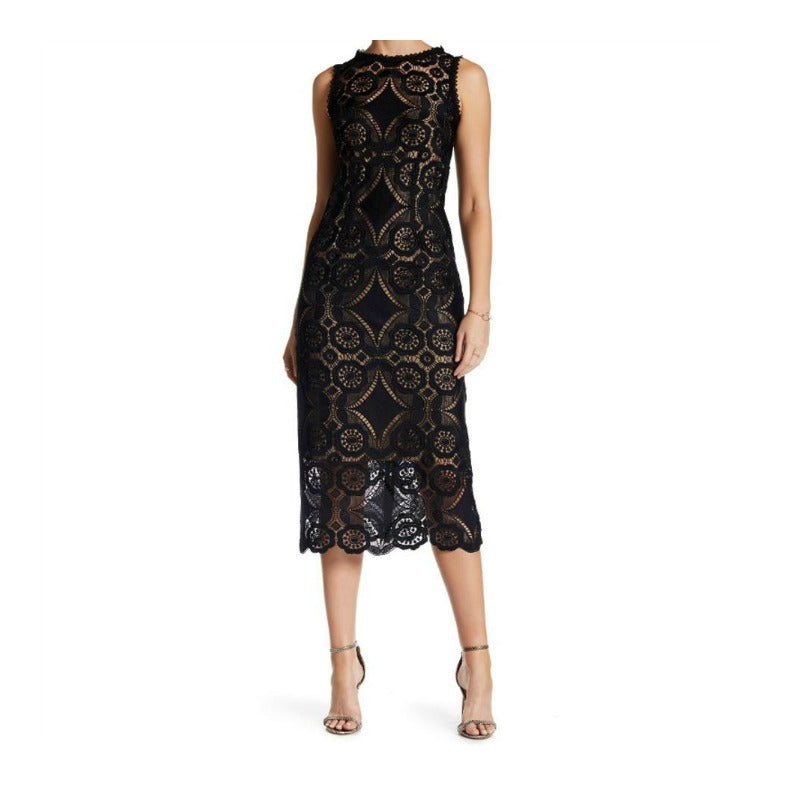 Nanette Lepore Black/Nude Eyelet Casino Shift Dress