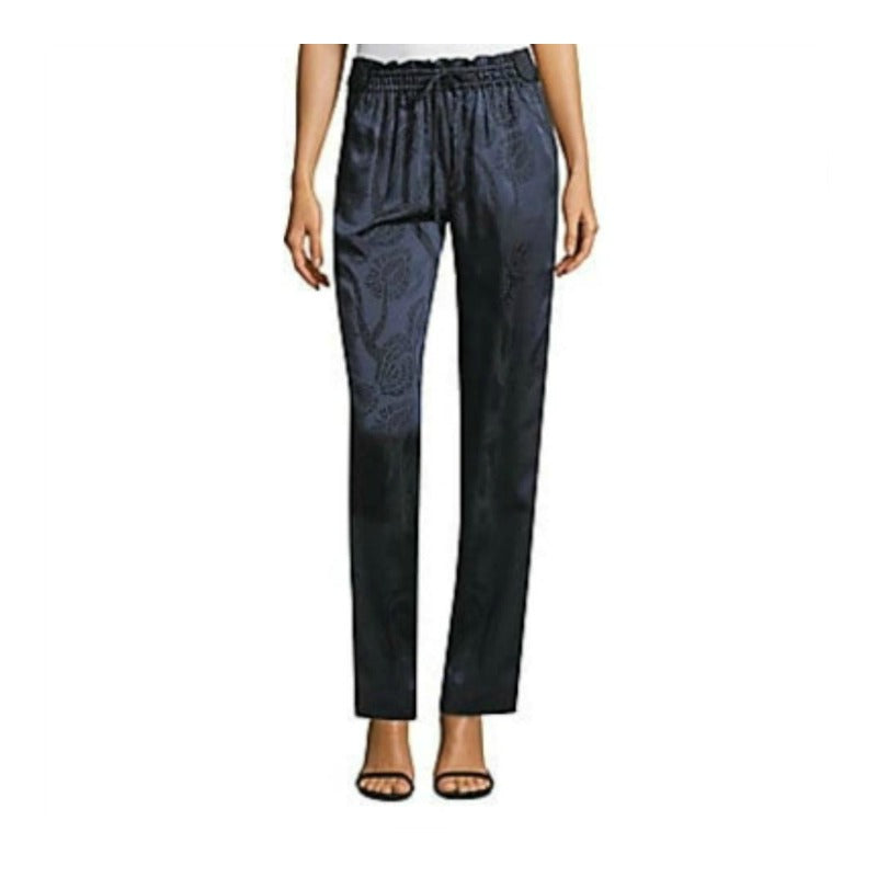 Peter Pilotto Navy Satin Jaquard Pants