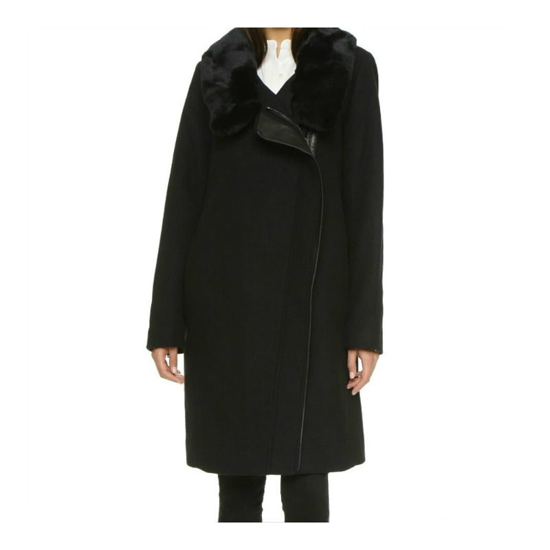 Vince Black Assymetrical Wool/Leather Coat