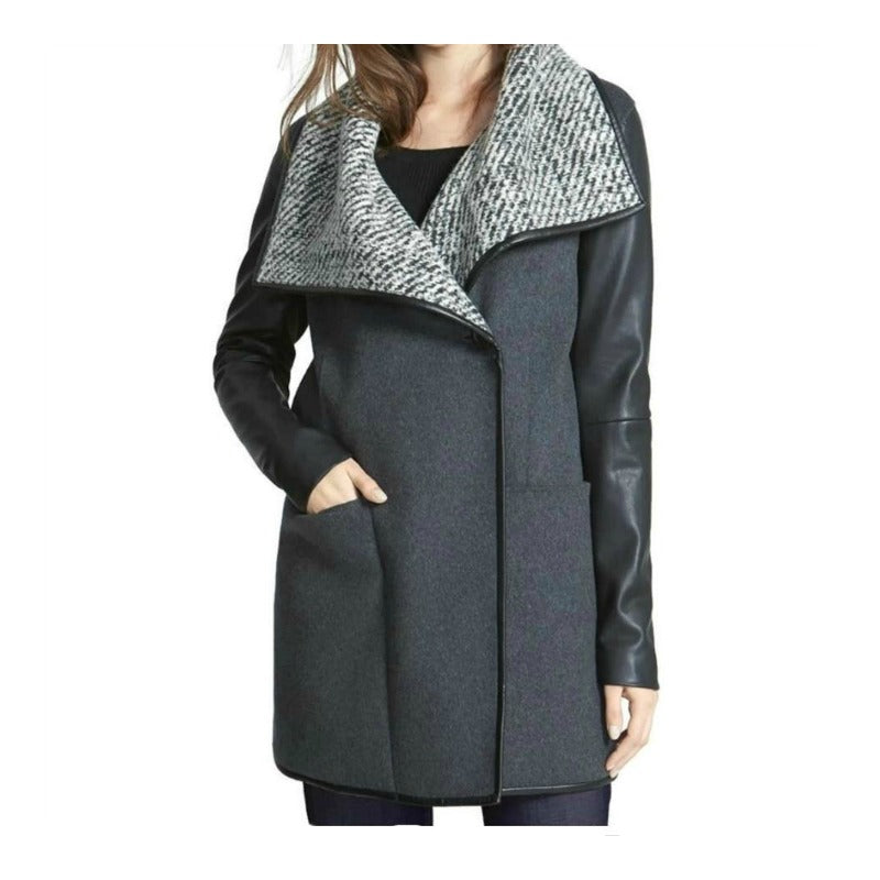 Vera Wang Grey Multi Wool Shawl Collar Coat