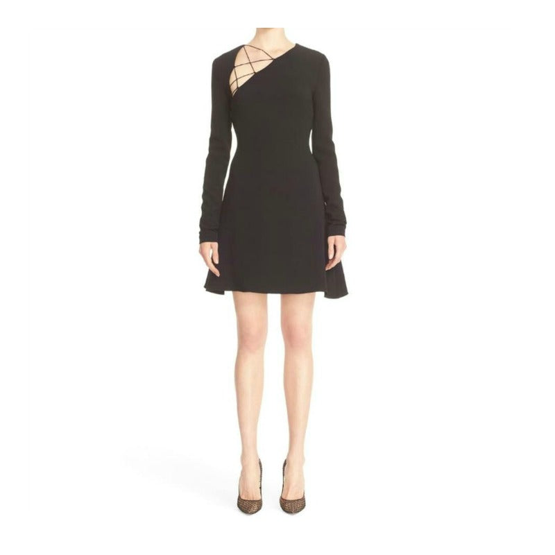 Cushnie et Ochs Black Cady Fit + Flare Dress