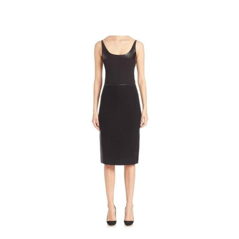 Narciso Rodriguez Black Wool/Leather Dress