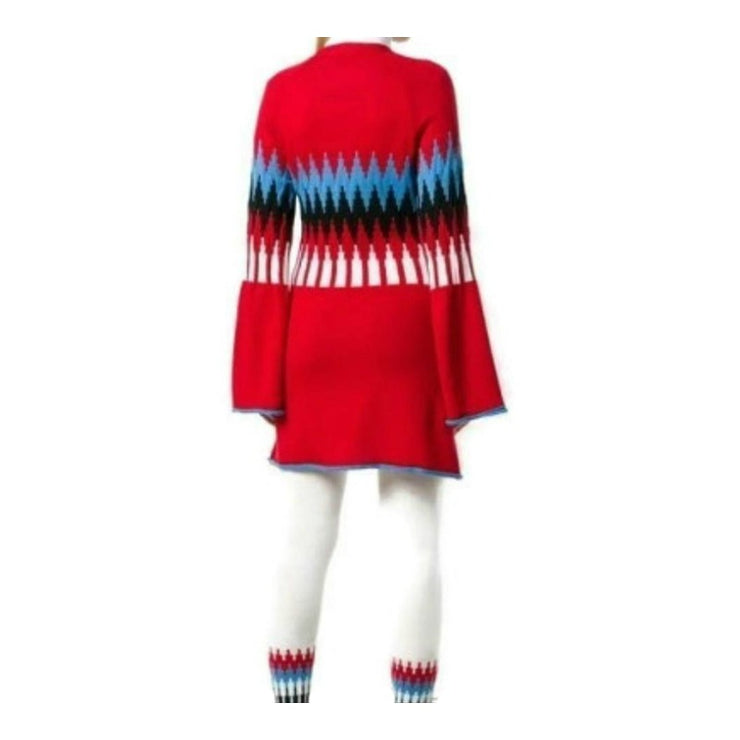 Sonia Rykiel Red Multi Wool Cardigan