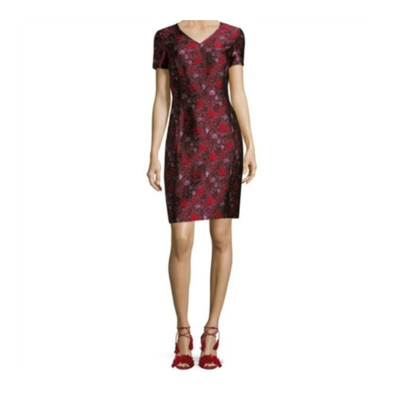 Oscar de la Renta Red Short Sleeve Jaquard Cocktail Dress