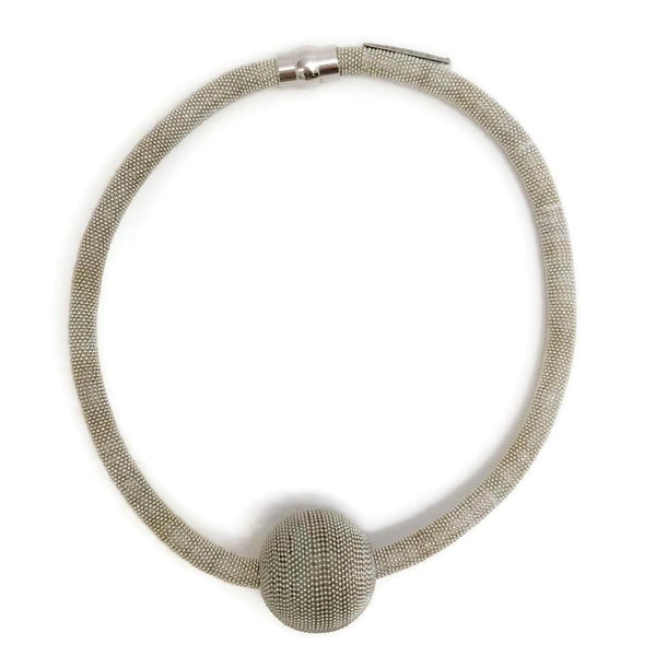 Fabiana Filippi Silver Mesh Ball Necklace