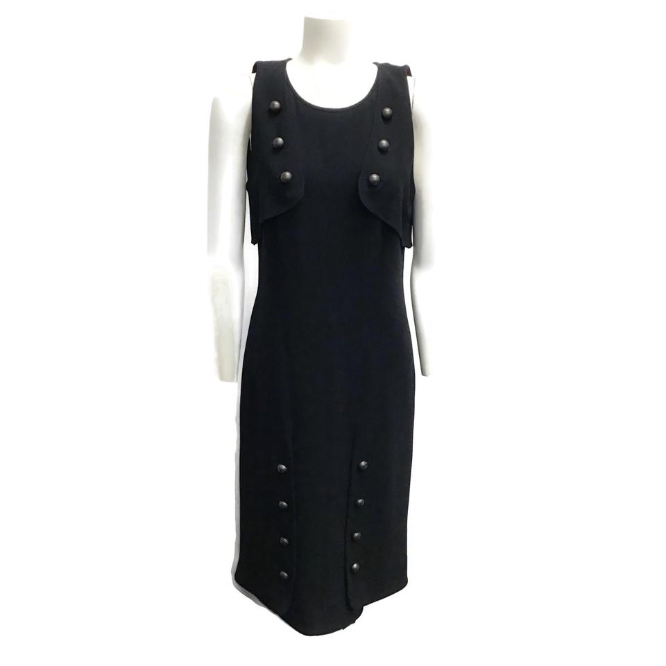 Fendi Black Wool Button Dress