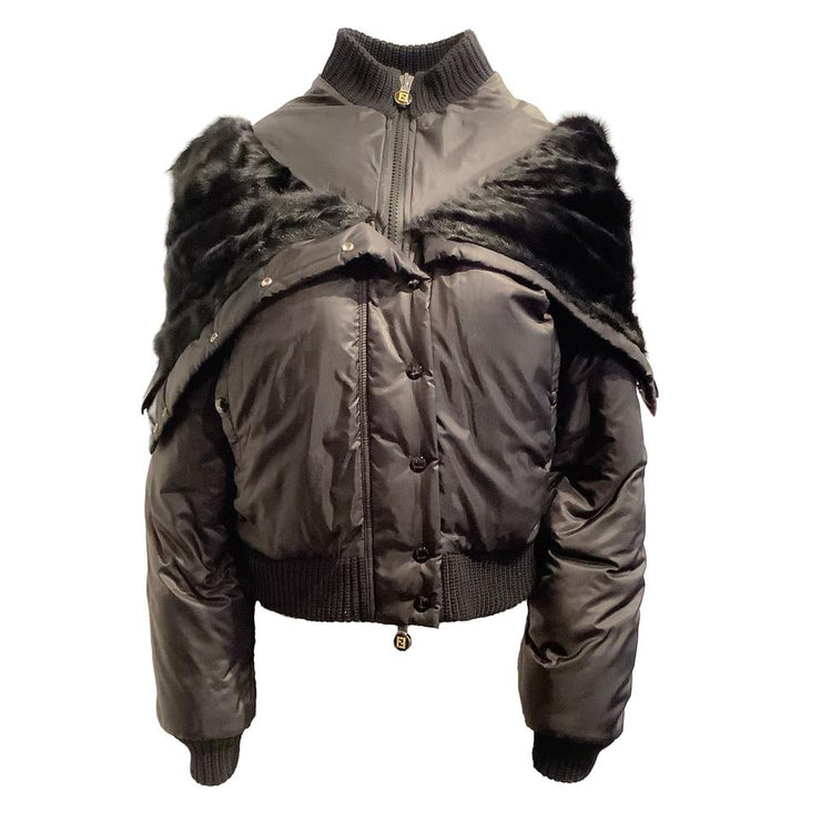 Fendi Black Puffer W/ Fur Collar Coat
