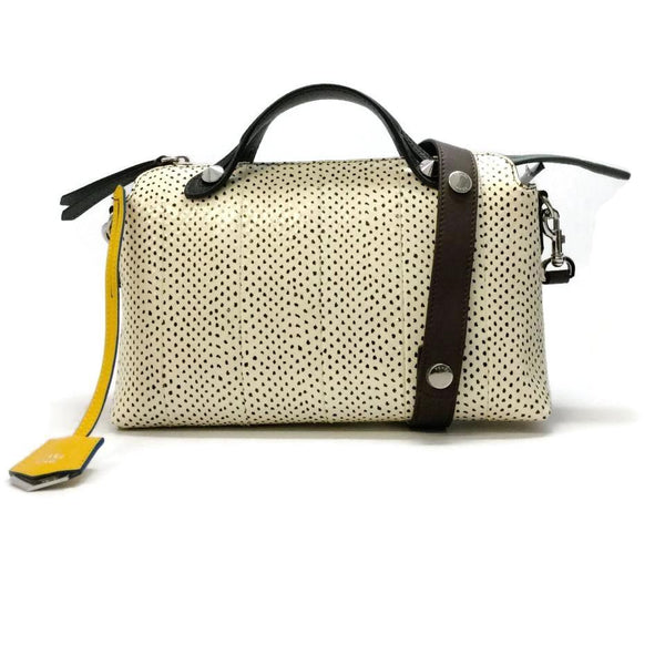 Fendi By The Way Ivory / Black Snakeskin Leather Cross Body Bag