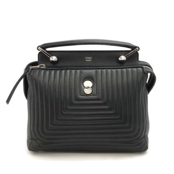 Fendi Dot Com Quilted Black Leather Shoulder Bag