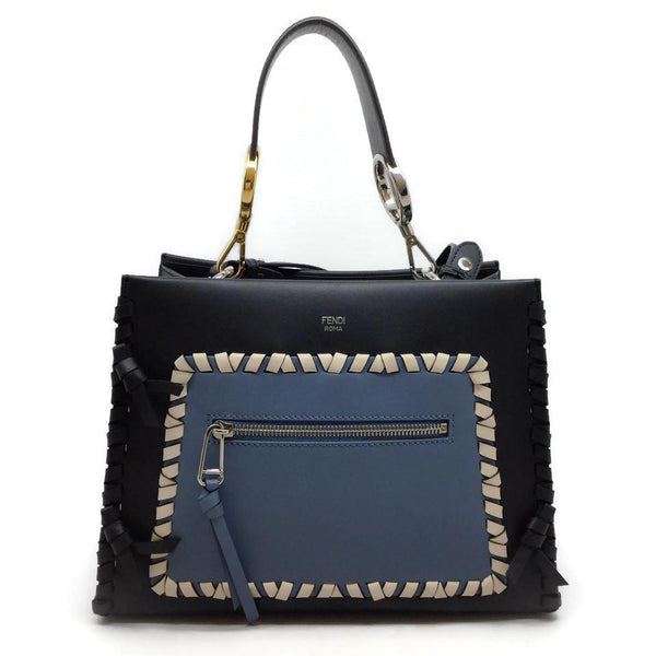 Fendi Runaway Navy / Blue Leather Shoulder Bag