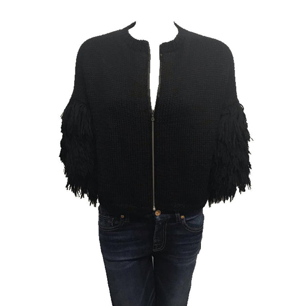 Figue Alpaca Fringe Black Zip Cardigan Sweater