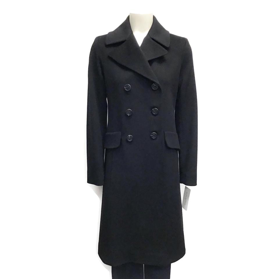 Fleurette Black Double Breasted Wool Coat