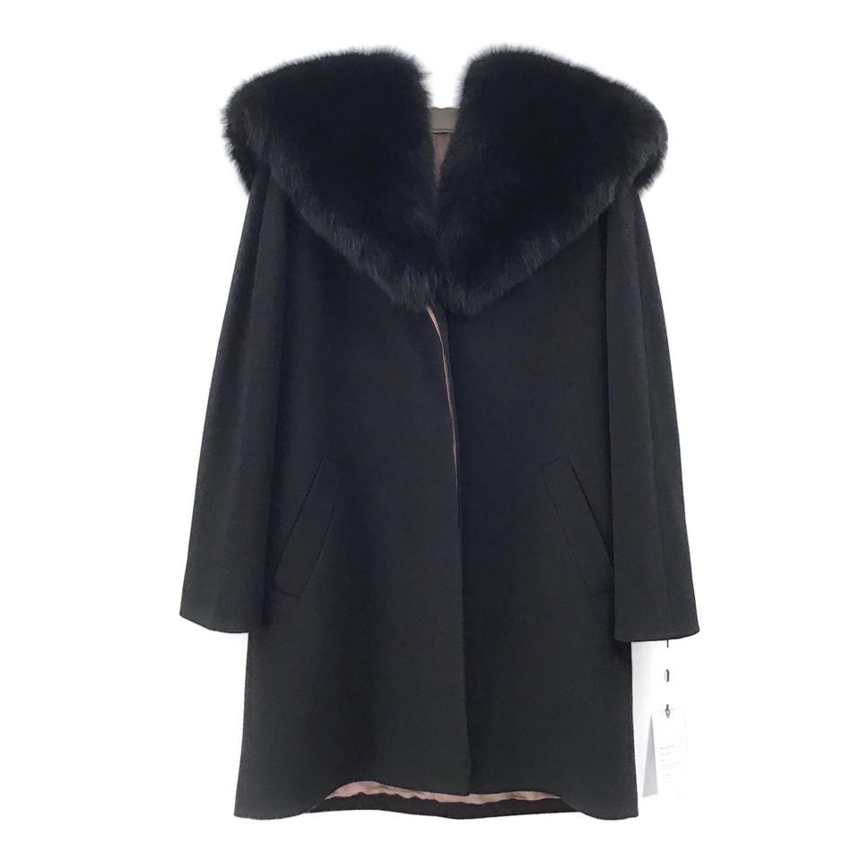 Fleurette Black Wool/Fox Coat