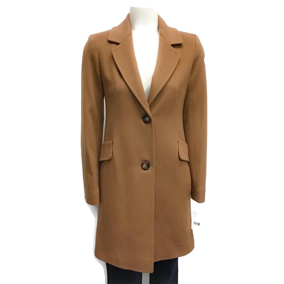 Fleurette Camel Notch Collar Wool Coat