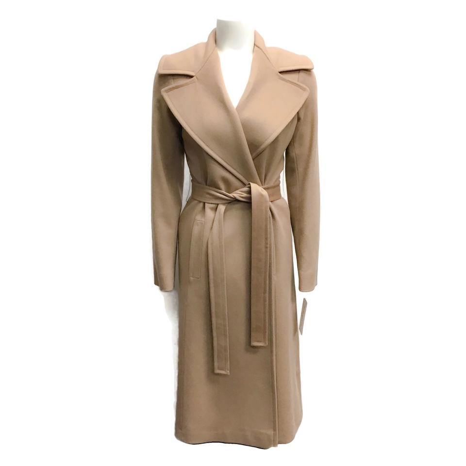 Fleurette Camel Wrap Wool Coat