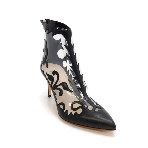 Francesco Russo Black / Clear Leather Cut Out Boots