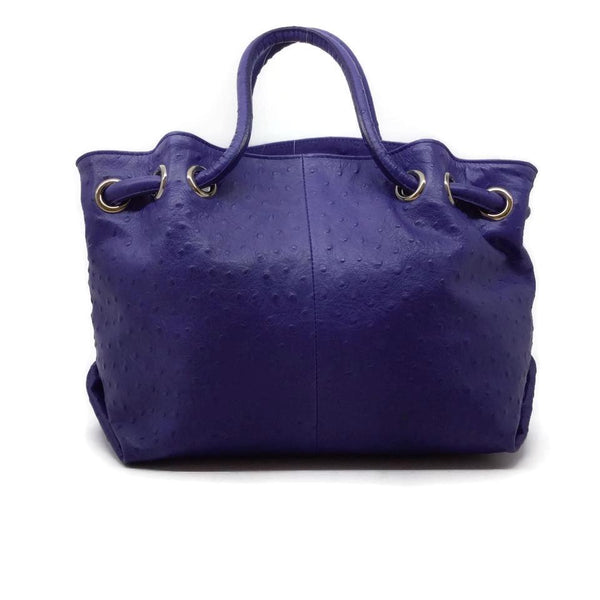 Furla Embossed Ostrich Blue Leather Tote