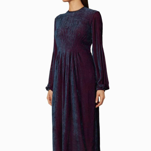 Gabriela Hearst Burgundy/Blue Ruby Velvet Cord Dress