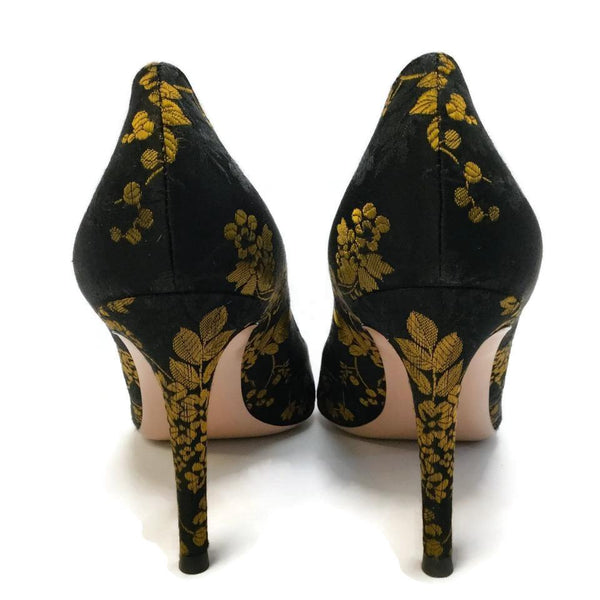 f18c5d7ccd5f Gianvito Rossi Black   Gold Kyoto Satin Pumps – Roundabout Resale ...